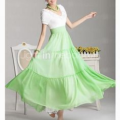 Women's Korean V Collar Bohemian Style Chiffon Dress | LightInTheBox