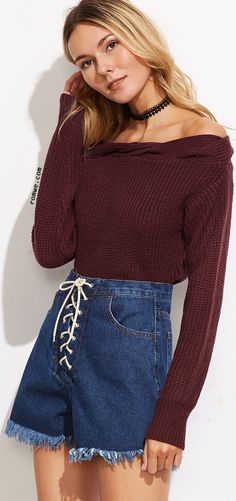 Burgundy Off The Shoulder Twisted Knit Trim Sweater