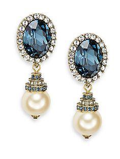 Animal Instinct Medallion Drop Earrings/Blue