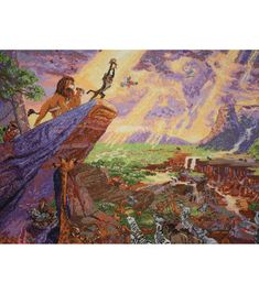 """Disney Dreams Collection By Thomas Kinkade The Lion King-16""""X12"""" 18 Count"""