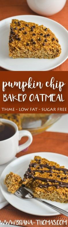 Pumpkin Chip Baked Oatmeal - THM:E - low fat - sugar free - gluten free - dairy free - nut free - chocolate! - Trim Healthy Mama - low glycemic