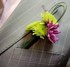 Make Her Smile Boutonniere | Lavender Chrysanthemum Daisy Boutonniere | Yellow Button Mum | Wedding Boutonniere | Groom Boutonniere | Groomsmen Boutonnieres | Buy Boutonniere at BunchesDirect $2.99