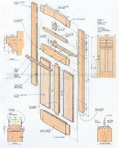 Front Door Plans - Door Construction and Techniques - Woodwork, Woodworking, Woodworking Plans, Woodworking Projects Easy Wood Projects, Cool Woodworking Projects, Woodworking Bed, Building Kitchen Cabinets, Plan Front, Carriage Doors, Glass Panel Door, Cool House Designs, Furniture Plans