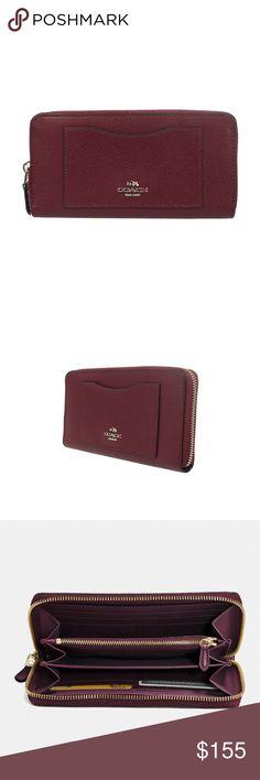 Coach Accordion Zip Wallet ACCORDION ZIP WALLET IN BURGUNDY CROSSGRAIN LEATHER  style: F58411SV/BU color: SV/BU Coach Bags
