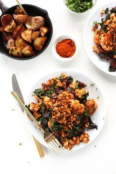 THE BEST Tofu Scramble with Masala-spiced cauliflower, kale, onion and the BEST Breakfast Potatoes! #vegan #glutenfree