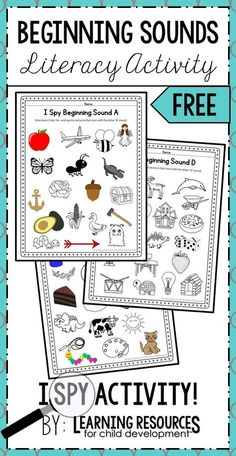 I Spy Beginning Sounds Phonics / Initial Sounds Activity! This activity is so much fun to learning phonics and initial sounds in preschool, pre-k, and kindergarten. It's a free printable by Learning Resources for Child Development. Letter Sound Activities, Alphabet Activities, Classroom Activities, Preschool Activities, Preschool Pictures, Letter Sound Games, Preschool Phonics, Phonemic Awareness Activities, Phonological Awareness
