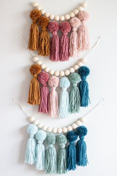 Earth Tone Rainbow Pom Pom Tassel Garland Nursery and Kids Room Decor Party Decorations Ombre Craft Stick Crafts, Diy And Crafts, Arts And Crafts, Craft Ideas, Preschool Crafts, Modern Crafts, Plate Crafts, Creative Crafts, Pom Pom Crafts