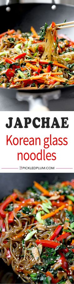Japchae (Korean Glass Noodles) - A savory, sweet and nutty Japchae Recipe that marries chewy Korean glass noodles with stir-fried veggies. Ready in 16 minutes from start to finish! Recipe, Korean, noodles, stir fry, vegan | pickledplum.com