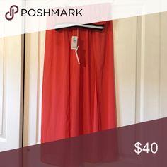 Sheer Maxi Skirt Sheer, Coral Maxi skirt with high slits Lush Skirts Maxi