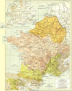 Carte de la Gaule au temps de César.