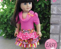 Pixie Faire Artistic Amy Little Boutique Skirt  Doll Clothes Pattern for 18 inch AG Dolls - PDF