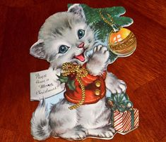VINTAGE Christmas Card ©1946 DIE CUT EMBOSSED KITTY CAT TABBY KITTEN PLAYING