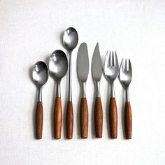 Dansk Fjord Flatware Service for 8 Teak Wood Handle Made in Germany 1960s Mid Century Modern
