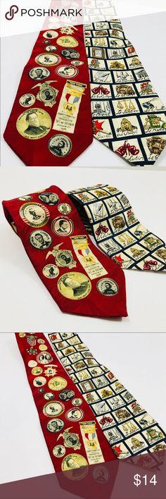 Museum Artifacts Mens Tie Neckties 100% Silk Museum Artifacts Mens Tie Neckties Hand Made 100% Silk Lot Of 2 museum artifacts Accessories Ties