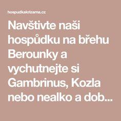 Navštivte naši hospůdku na břehu Berounky a vychutnejte si Gambrinus, Kozla nebo nealko a dobroty z naší kuchyně.