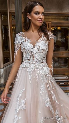crystal design 2017 bridal long sleeves v neck heavily embellished lace embroidered romantic princess blush color a  line wedding dress sheer back long monarch train (aniya) zv  #wedding #bridal #weddingdress