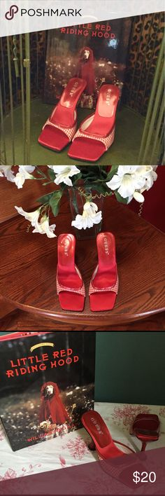 Guess Red Gingham Shoes Leather and fabric shoes with interesting heel Guess Shoes Heels