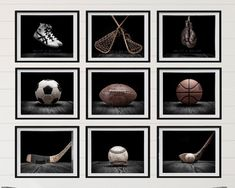Title: Set of 9 Vintage Sports in Black on Black PHOTO Prints. (THIS LISTING IS NOT THE CANVAS SET) Title: Set of 9 Vintage Sports Prints on Classic Black Size Select from drop down menu This listing is for Nine photo prints on lustre paper NOT CANVAS!! However you can purchase these on canvas at
