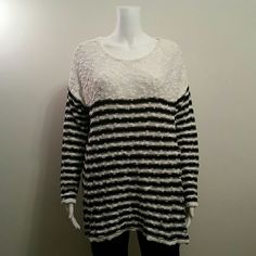 NWT STYLE & CO 100% COTTON SWEATER NEW MACY'S STYLE & CO STRIPED BLACK WHITE KNIT SLUB SWEATER SIZE LARGE RETAIL $49 Style & Co Sweaters Crew & Scoop Necks