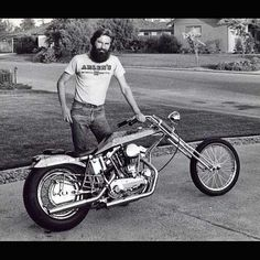 Black and White Picture of a Rider and His Digger ***MORE Digger motorcycles at http://blog.lightningcustoms.com/digger-motorcycles #diggermotorcycles