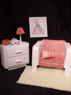 original creation by CHANIKAVA ... 1/6 scale Barbie furniture... living room sitting chair and side table doll house diorama dollhouse