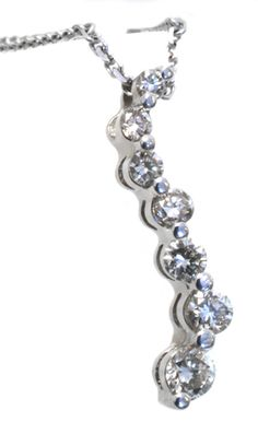 Diamond journey pendant with 0.25carat total diamond weight in 14k white gold | www.Hannoush.com