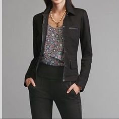 c6cf6ff6d98 CAbi women Tudor black Blazer Jacket with faux Leather Details Size M rayon  1002  CAbi
