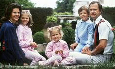 Queen Silvia with her husband King Carl Gustaf and their three children; Princesses Victoria and Madeleine, and Prince Carl Philip