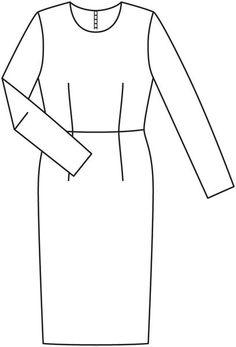 Платье-футляр отрезное по талии - выкройка № 122 из журнала 11/2012 Burda – выкройки платьев на Burdastyle.ru