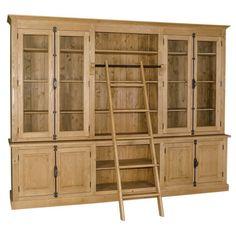 Büroschrank abschließbar  Bücherregal mit Leiter, braun, Wohnzimmer, Landhausstil ...