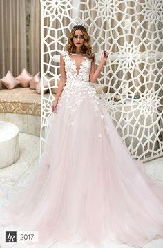 Zarana, Desert Mistress 2017, Excellent dress for stylish bride. Exclusive 3D lace decoration and dolly rose shade highlights silhouette tenderness