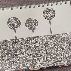 Little spiral obsession... Cotton candy trees. *** Petite obsession spirale... Arbres barbapapa. Illustration www.francemars.com