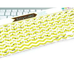 Chartreuse Chevron Keycals. Super fun and fancy keyboard stickers to make your computer look awesome.