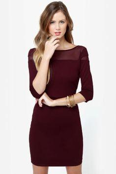 BB Dakota Jada Dress - Burgundy Dress - Mesh Dress - $82.00