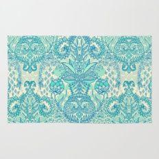 Botanical Geometry - nature pattern in blue, mint green & cream Rug