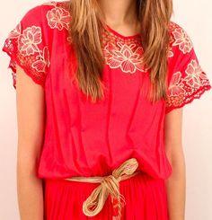 flowers + red + cream [Bali cutwork dress]