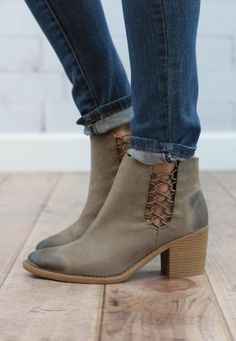 gorgeous leather booties with open side detail make these ones a trendy must have!!