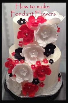 Cascading Flower Red & Black   Great decorating tips here
