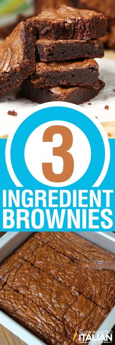 3-Ingredient Nutella Brownies (With VIDEO), gluten free option...