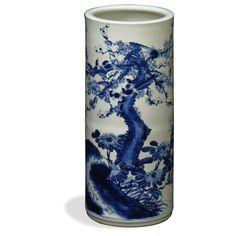 Blue & White Porcelain Umbrella Stand