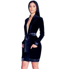 Deep V-Neck Front Bow Velvet Dress 2d50a7eaf6be