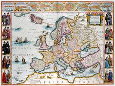 Map of Europe print. Originally created by J. Blaeu in the 17th century. From £20