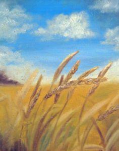 Wheat Field Painting Print - 8x10 Fine Art Giclee Print - Grain Country Gold. $25.00, via Etsy.