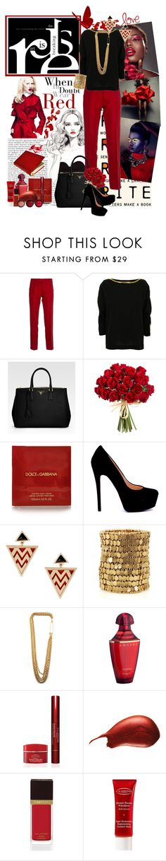 """""""When in doubt wear red."""" by kayechristilmiguelle ❤ liked on Polyvore featuring Poste, Golden Goose, 3.1 Phillip Lim, Prada, Dolce&Gabbana, House of Harlow 1960, Philippe Audibert, Cheap Monday, Guerlain and Clarins"""