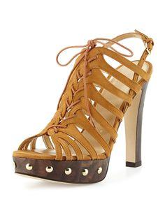 Hitied Suede Platform Sandal, Camel, Women's, Size: 9B - Stuart Weitzman