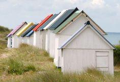 Beach Huts at Gouville-sur-Mer #cabin #sea