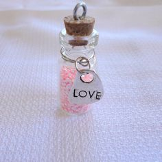 Bottle of Love necklace with pink glitter in by TheArtistsWorkshop, $6.00