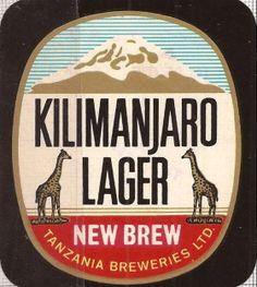 Kilimanjaro Lager New Brew Label Most Popular Drinks, Beer 101, B Food, Old Garage, Malted Barley, Retro Design, Graphic Design, Beer Coasters, Kilimanjaro