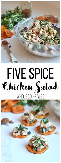 Five Spice Chicken Salad – Little Bits of… This Five Spice Chicken Salad is the perfect lunch option you can prep ahead of time and throw on a salad, eat by itself or on sweet potato rounds! Healthy and delicious! Healthy Chicken Recipes, Paleo Recipes, Real Food Recipes, Snack Recipes, Bariatric Recipes, Protein Recipes, Five Spice Chicken, Chicken Spices, Chicken Meals