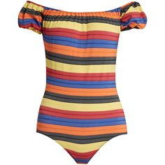 Lisa Marie Fernandez Leandra striped swimsuit ($410) ❤ liked on Polyvore featuring swimwear, one-piece swimsuits, swim, off the shoulder swimsuit, high waisted bathing suits, high-waisted bathing suits, high waisted swim suit and high waisted swimsuit